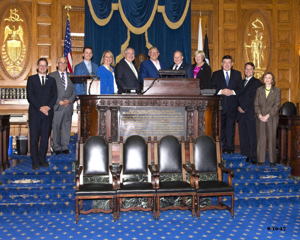 Members of the biannual MA-Quebec Cooperation Conference in the House of Representatives Chamber