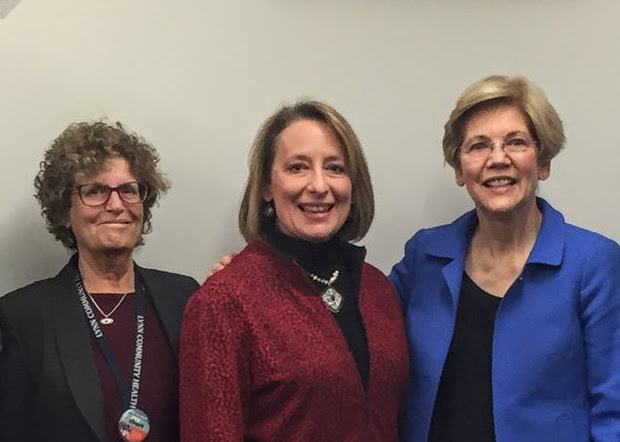 Lori Berry of the Lynn Community Health Center and Sen. Elizabeth Warren