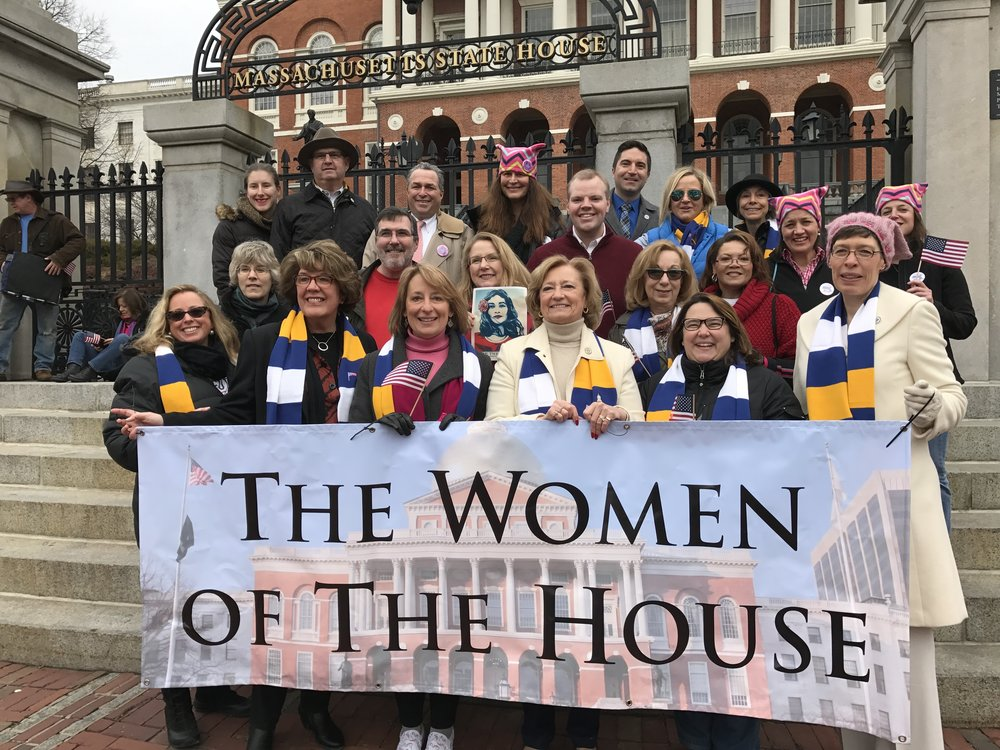Women House members' banner for the Women's March