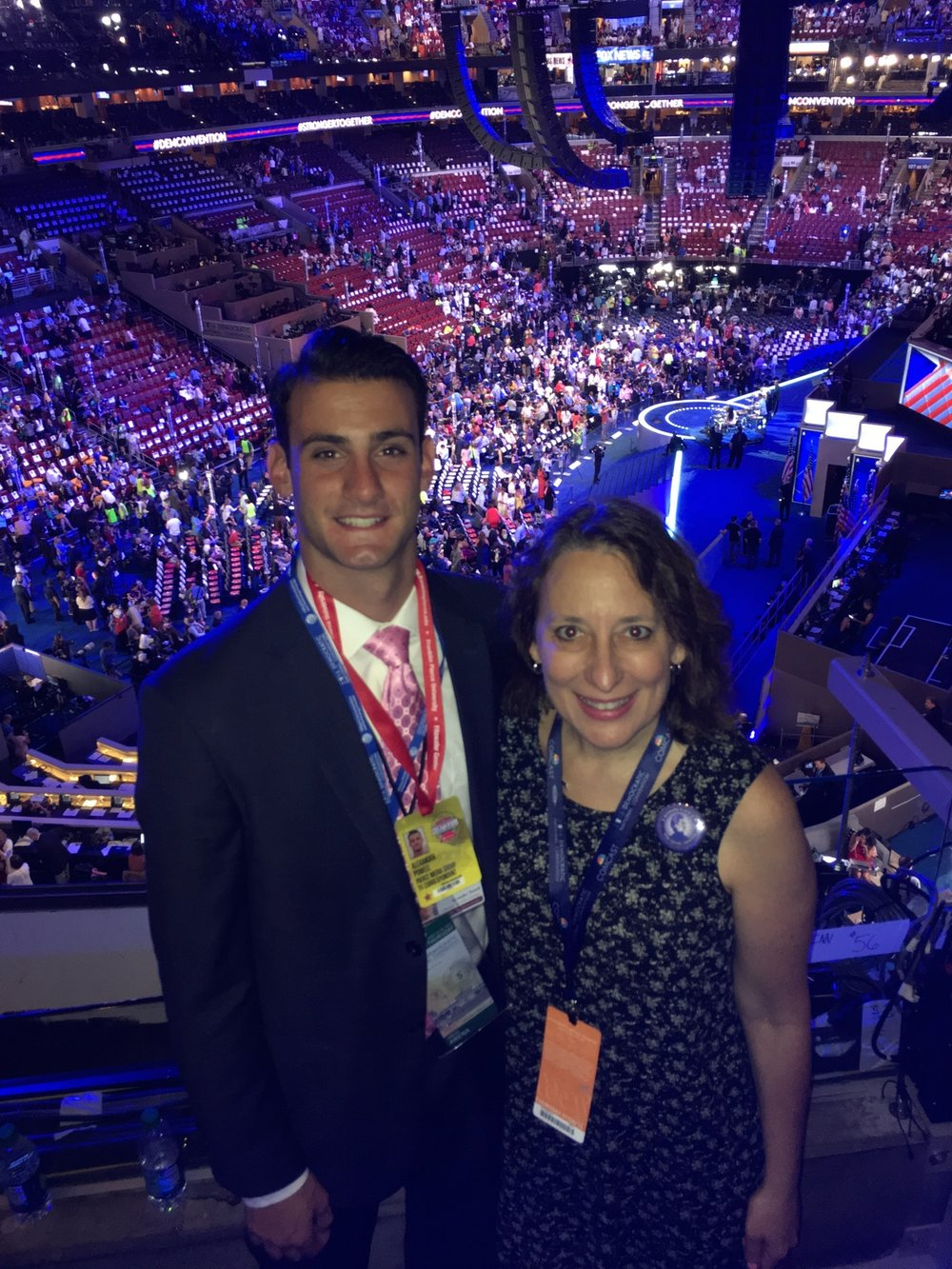 Rep. Ehrlich meets up with former intern Alex Powell at the 2016 Democratic Convention in Philadelphia
