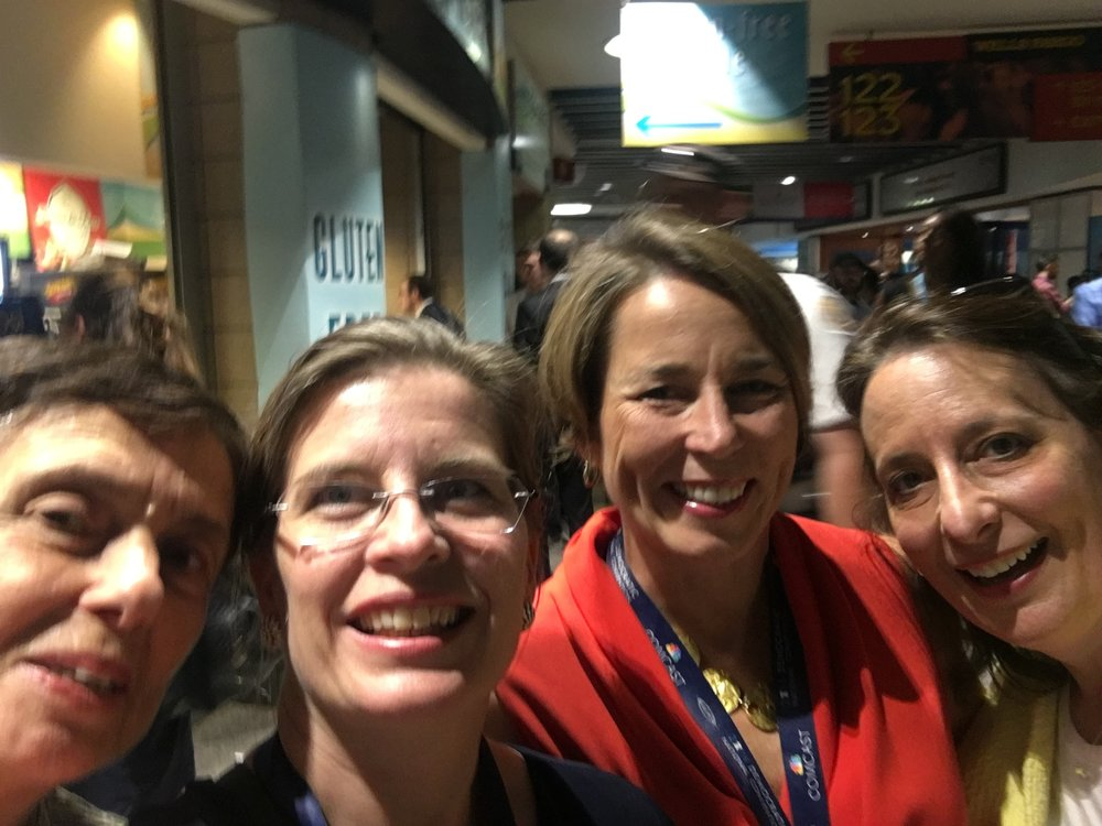 Rep. Ehrlich and Rep. Marjorie Decker, former Rep. Alice Wolf, meet up with Attorney General Maura Healey at the Dem. Convention.