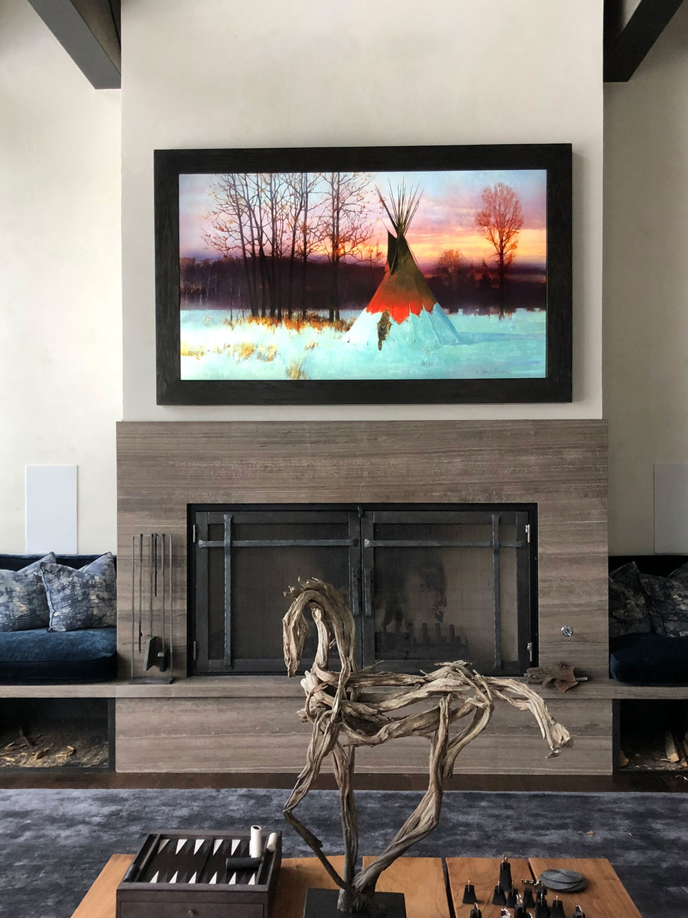 Pictured: Custom Framed 4k Sony TV w/ PIXoils Digital Art