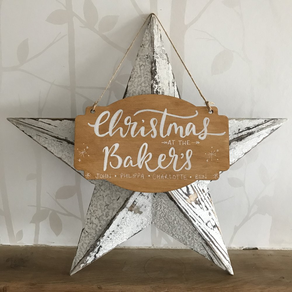 Personalised Christmas Calligraphy Plaque