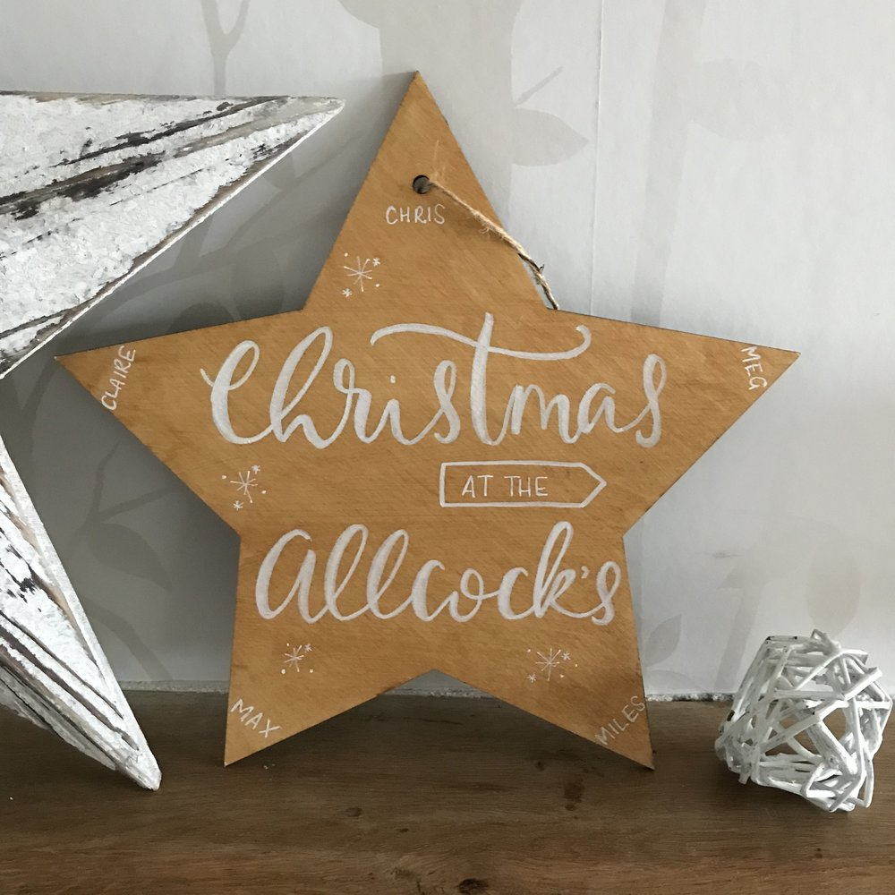 personalised wooden star