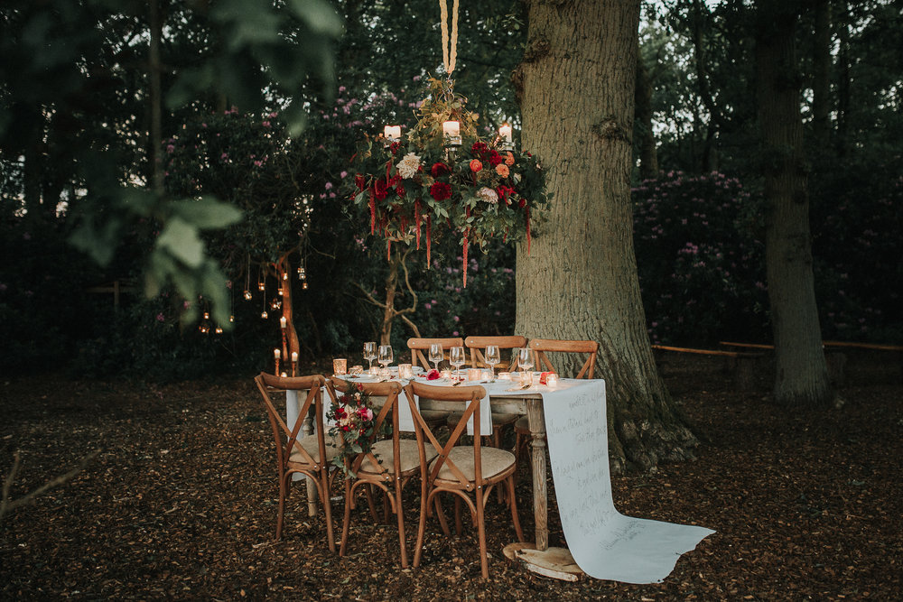This dreamy woodland-inspired wedding shoot captured perfectly by Lianne Gray, portrayed beautifully how the intimacy of a small wedding can be achieved in the most romantic of settings.  The venue was the fabulous Escrick Park Estate in York; set in an ancient oak clearing, this outdoor open space provides rustic benching with an archway crafted from dried oak branches to create a special space for your 'I do's'.
