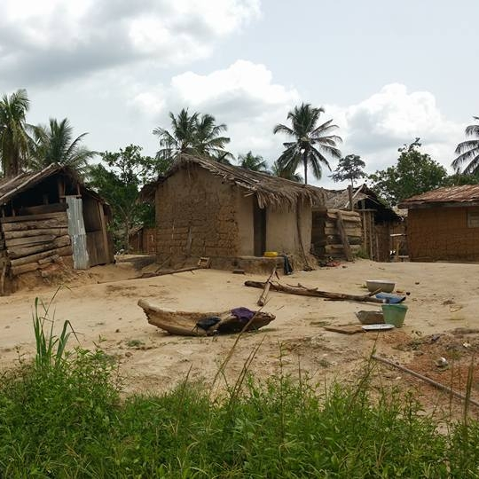 A village in rural Ghana, up in the Eastern Region.