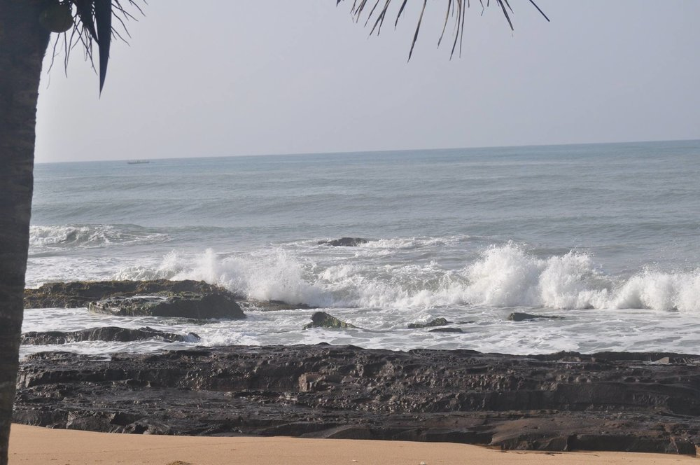 The Gulf of Guinea view from Cape Coast, Central Region, Ghana, off of the Atlantic Ocean.