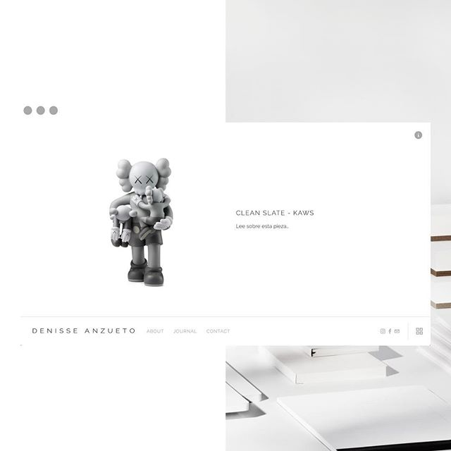 Visual identity system and website for @denisseanzueto. The goal was to create an art museum feel to the website. Grey sans serif typography contrasted against a white background roots from the @nashersculpturecenter. I like to explore the physical elements of what my clients do before creating the digital.