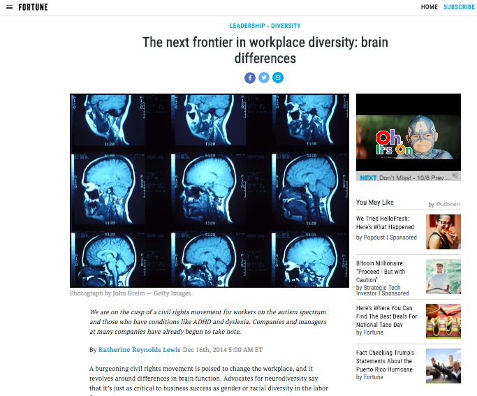 The Next Frontier in Workplace Diversity: Brain Differences - Fortune, December 2014