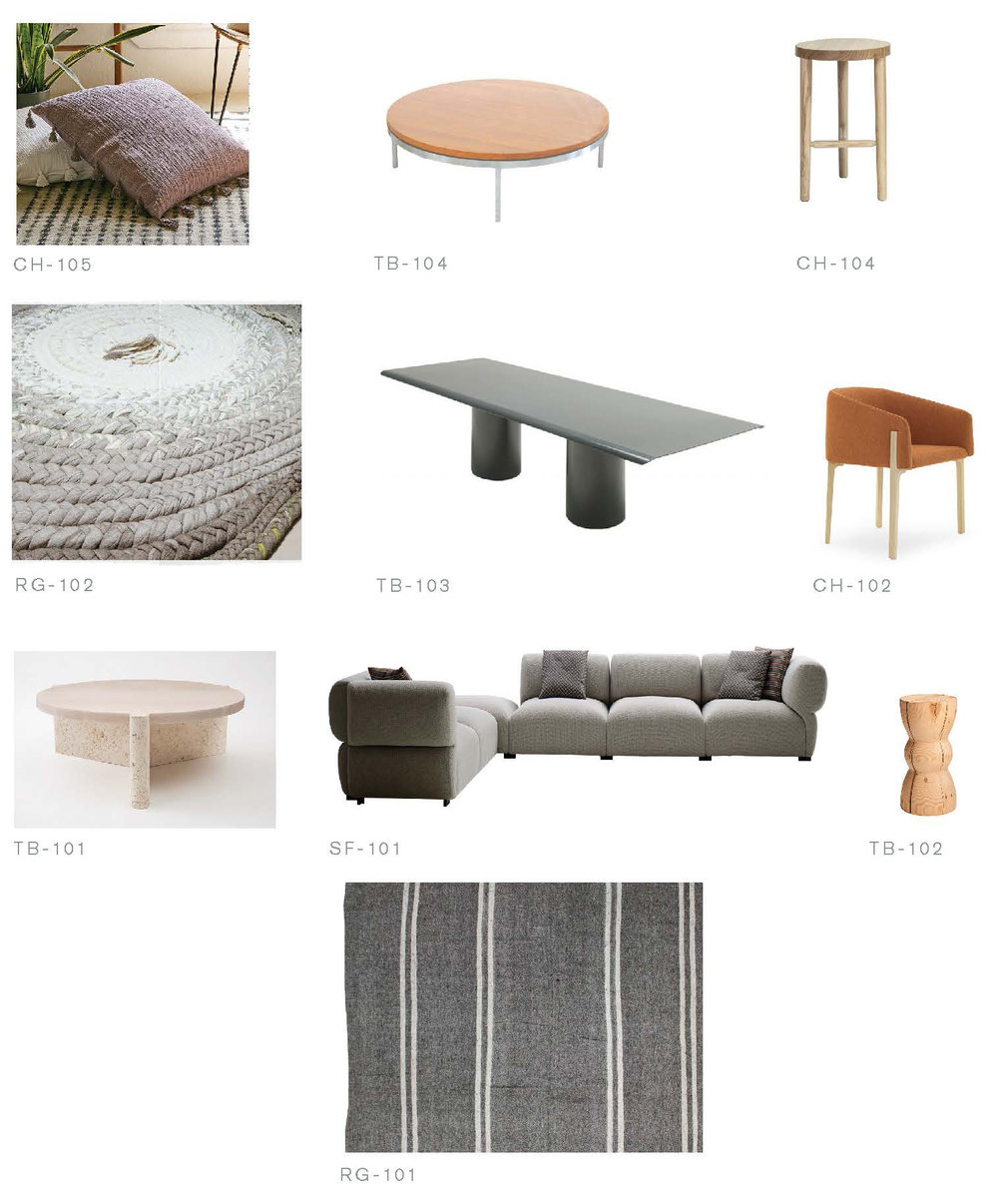 Furniture selections proposed as a suite for a living room.