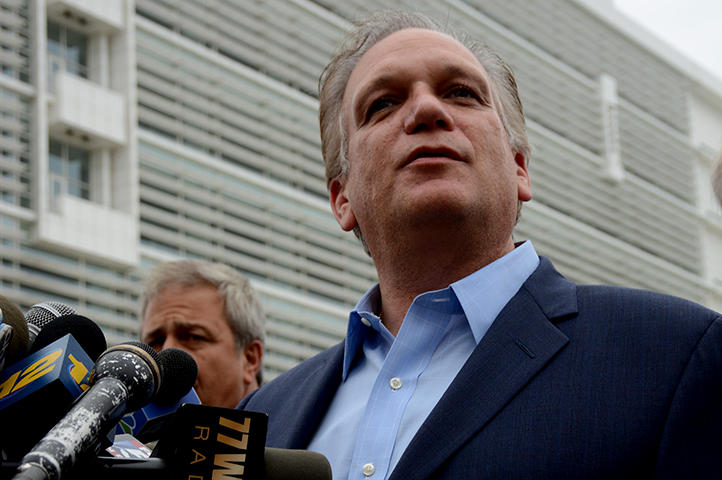 Nassau County Executive Steve Mangano outside the federal courthouse in Islip on Thursday. CHARLES LANE / WSHU