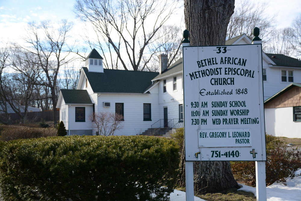 The original Bethel AME Church was lost to a fire in 1909. The church was rebuilt and remains the community's cultural and spiritual center. JESSICA OPATICH / WSHU