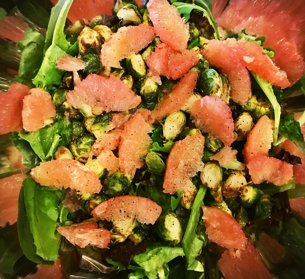 Avocado & Brussels Sprout Salad with Caramelized Grapefruit Vinaigrette
