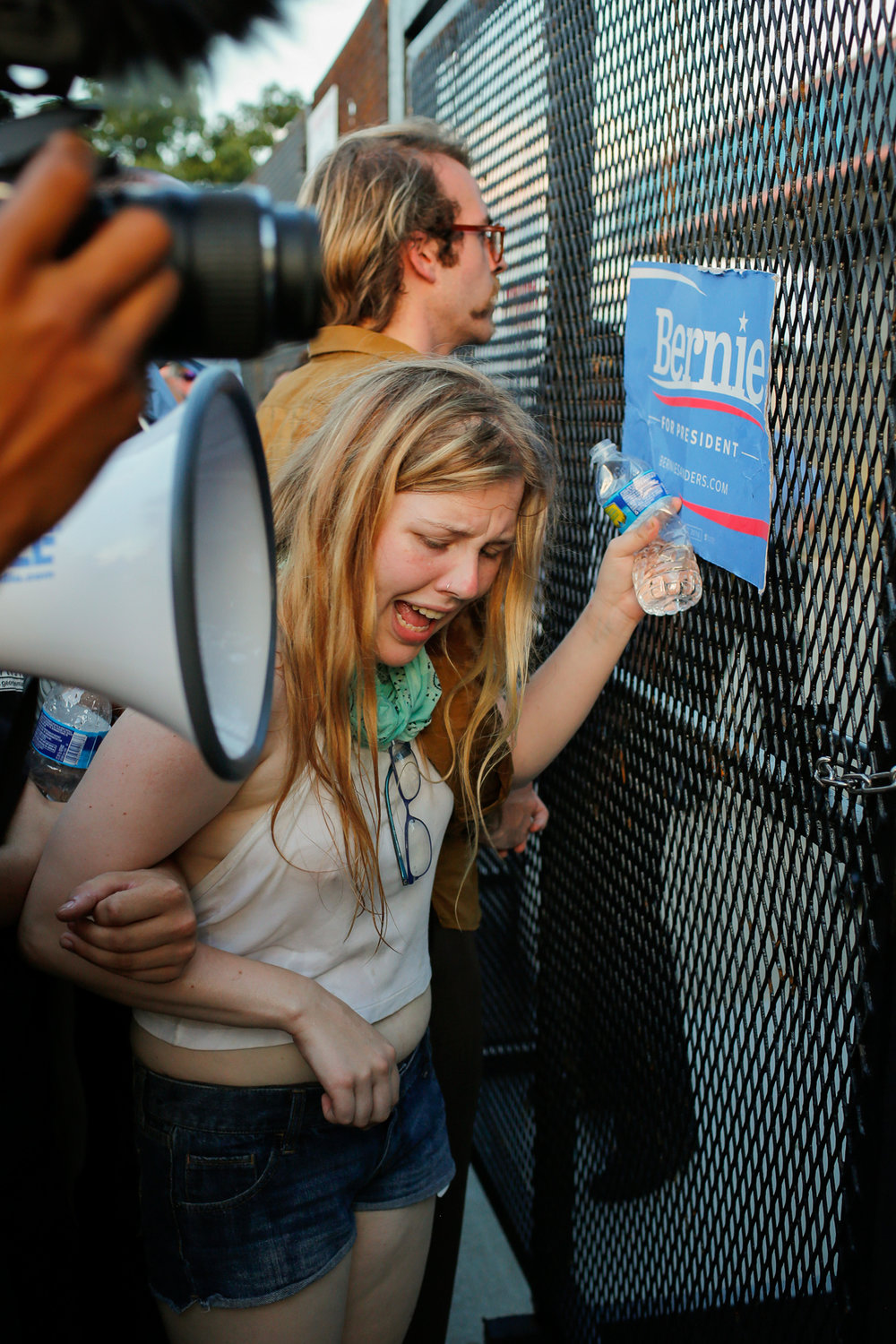 Young Woman Reacting to Homeland Security Pepper Spray