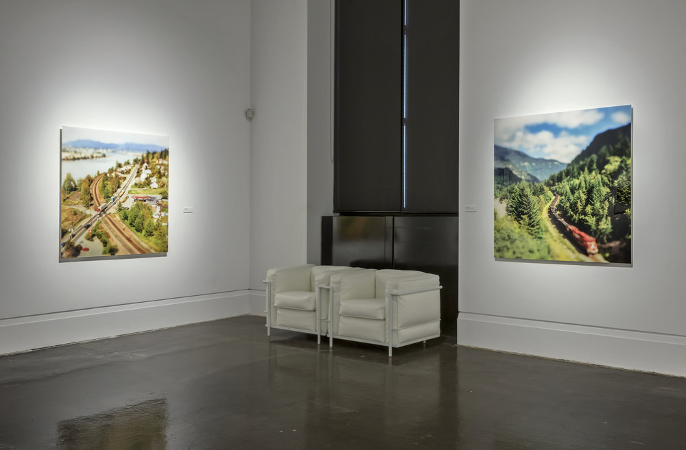 The View From Here, Main Gallery, Art Gallery of Mississauga. Toni Hafkenscheid, River Road , 2002. Train Snaking, 2002. Photo by Toni Hafkenscheid.