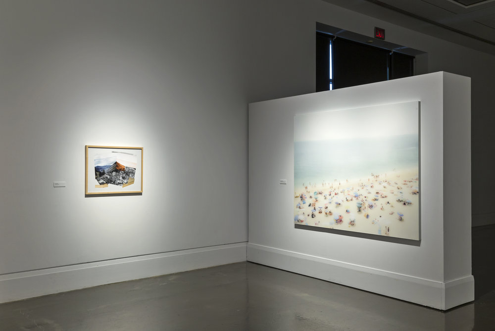 The View From Here , Main Gallery, Art Gallery of Mississauga. Left: Jason Gowans, Landscape 1 , 2013. Right: Joshua Jensen Nagle A Young Lover's Dream , 2013. Photo by Toni Hafkenscheid.