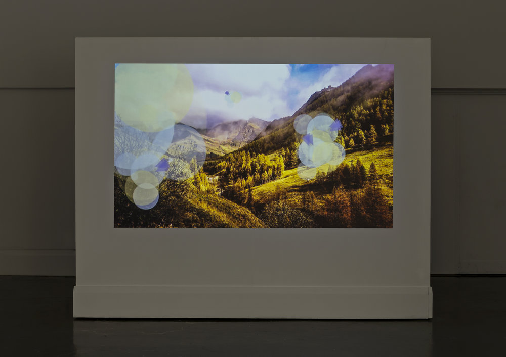 The View From Here, Main Gallery, Art Gallery of Mississauga. Clive Holden, Internet Mountains Video 1 , 2014. Photo by Toni Hafkenscheid.