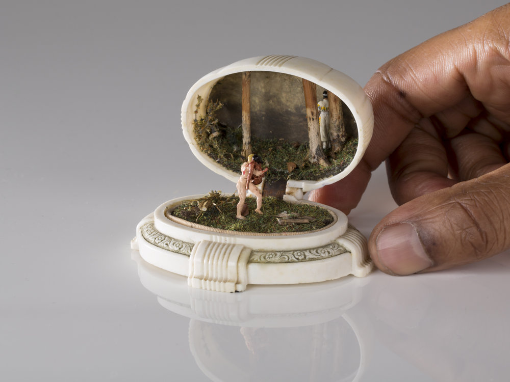 TALWST, The Rape , Reclaimed 1940's ring box, model putty, plastic, grass, tree branch, acrylic paint, paper, the artist's blood, 2015. Photo by Todd Duym.