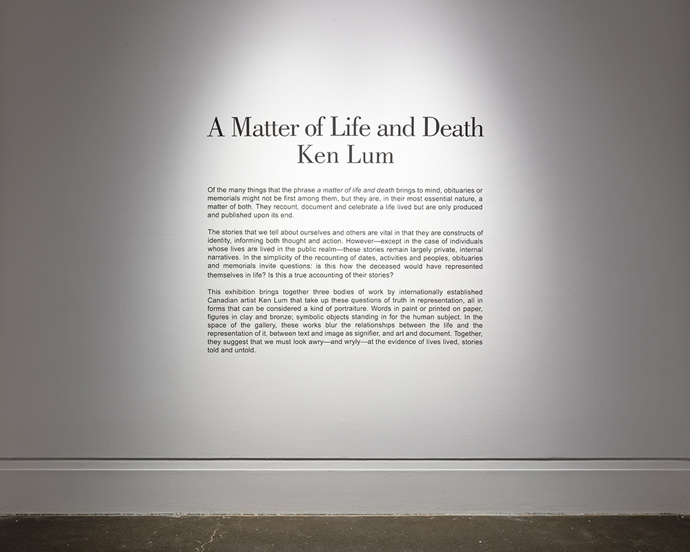 A Matter of Life and Death , Robert Freeman Gallery, Art Gallery of Mississauga. Photo by Toni Hafkenscheid.