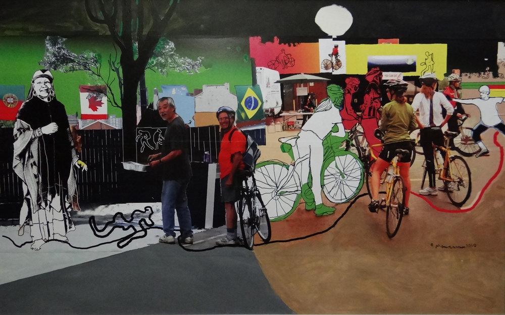 Diversity on Ontario Streets , 2010  Mixed media on Masonite  76x122 cm