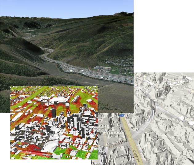 Data Driven Modeling - Whether you need hi-resolution terrain data, building shapefiles, or just about any other GIS data set, our analysis tools can support you!  We work seamlessly with almost any industry standard data format, allowing our analytics to produce hi-fidelity results