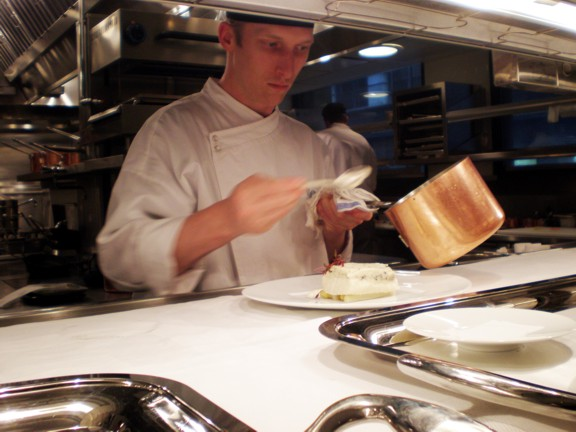 Plating halibut at SHO Shaun Hergatt