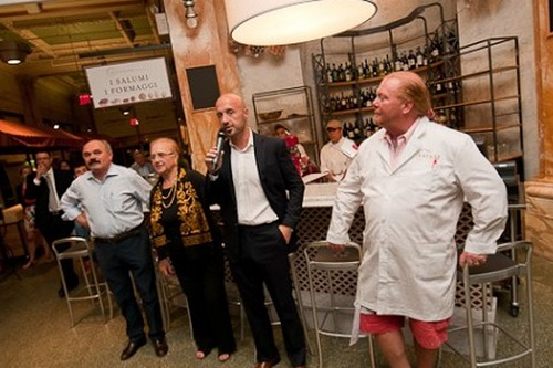 Chef Lidia Bastianich at Eataly Flatiron's opening with Joe Bastianich and Chef Mario Batali