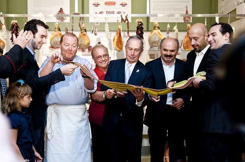 Chef Lidia Bastianich at Eataly's opening with Chef Mario Batali and Joe Bastianich