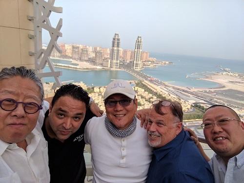 Chef Morimoto and team during construction of Morimoto Doha