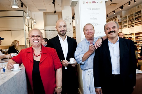 B&B Hospitality Group's Lidia Bastianich, Joe Bastianich and Chef Mario Batali with Eataly Founder Oscar Farinetti