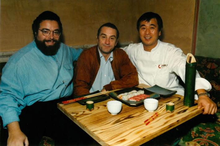 Drew Nieporent, Robert De Niro, and Chef Nobu Matsuhisa at Nobu Tribeca