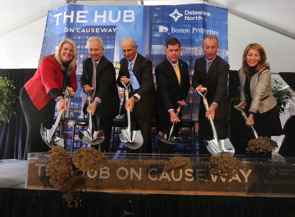 Lt. Gov. Karyn Polito (far right) and Boston Mayor Martin J. Walsh (third from right) join Delaware North and Boston Properties officials at the groundbreaking of TD Garden's The Hub on Causeway   Photo: John Wilcox