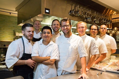 Chef Nicholas Stefanelli and team at Masseria Photo: Antoinette Bruno