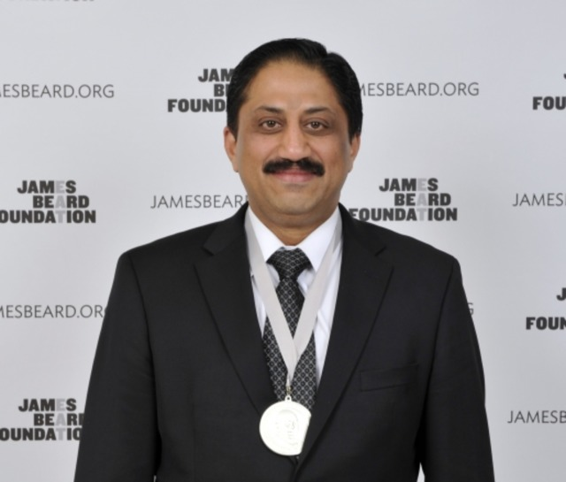 Chef Vikram Sunderam receiving James Beard Award for Best Chef in the Mid-Atlantic in 2014.   Photo: Kent Miller