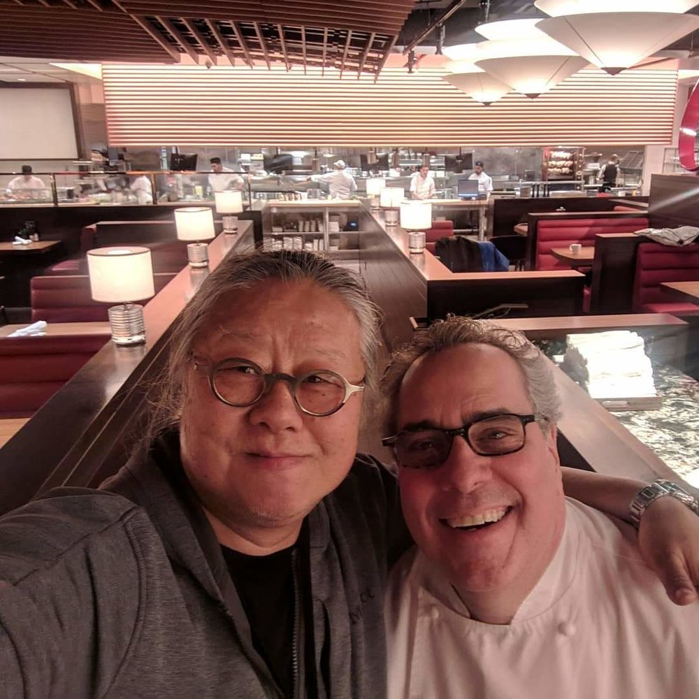 Jimi Yui and Chef Michael Lomonaco at Hudson Yards Grill pre-opening.