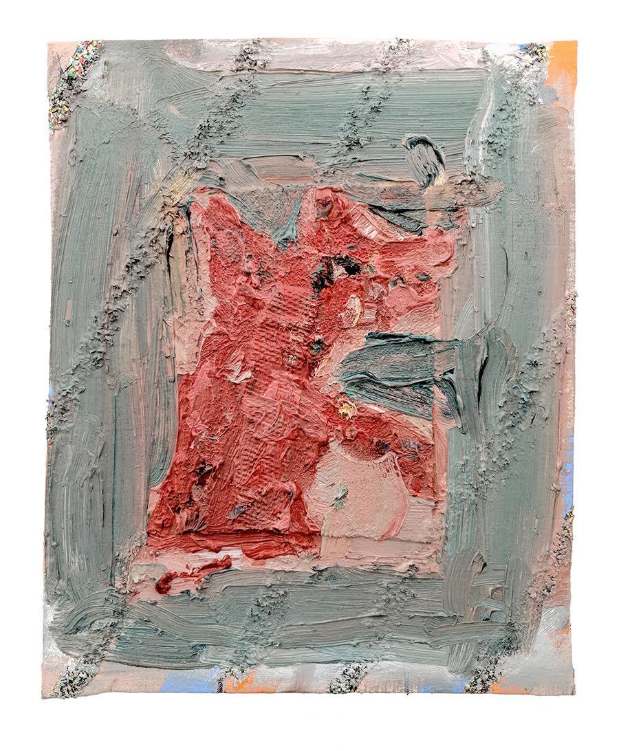 Encore Red Fox , 2016-2018 Oil, glitter, beach burlap on linen over wood panel 15.5 x 12.5 in $3,000