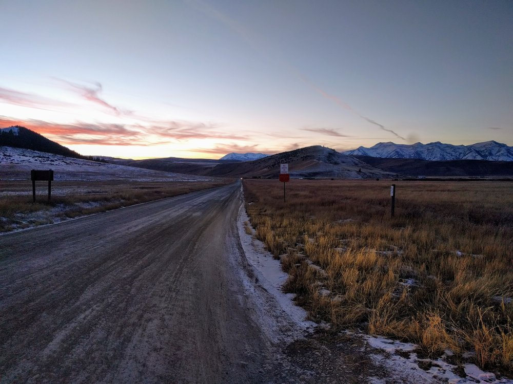 Sunset on the National Elk Refuge, home to some 6,000-7,000 wintering elk