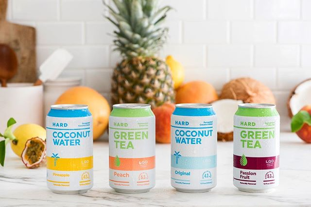 Meet LQD Hard Coconut Water and Hard Green Tea. Naturally fermented from pure coconut water or green tea into alcohol, so they are naturally gluten free, delicious, and refreshing. 🍵🍍🍑🥥💧 #DrinkLQD