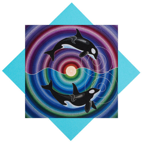Greeting card orca song and dance colourful artistry mandala greeting card orca song and dance m4hsunfo