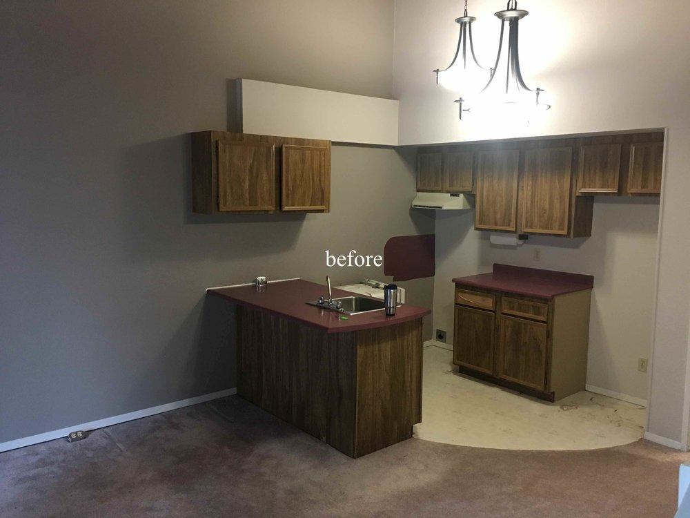 Kimberley ski condo kitchen renovation before photo.