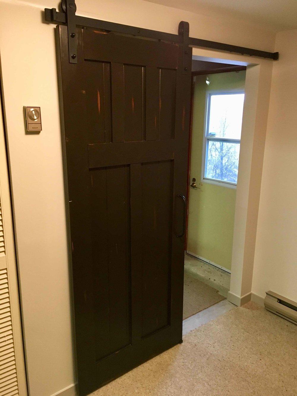 Distressed custom made barn door in Kimberley, BC