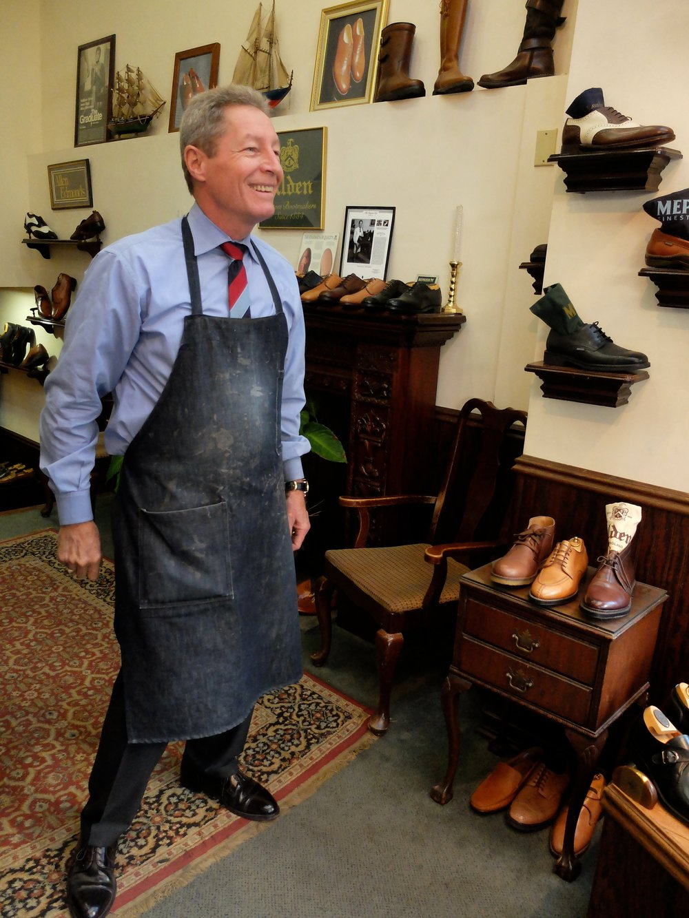 Paul Moorefield - quite a raconteur.  We could have listened to his stories for hours.  His uncle is a 104 y.o. retired dentist.  Oliver Moore Bootmakers - J.S. Elias Inc. Only $3,000/pair.