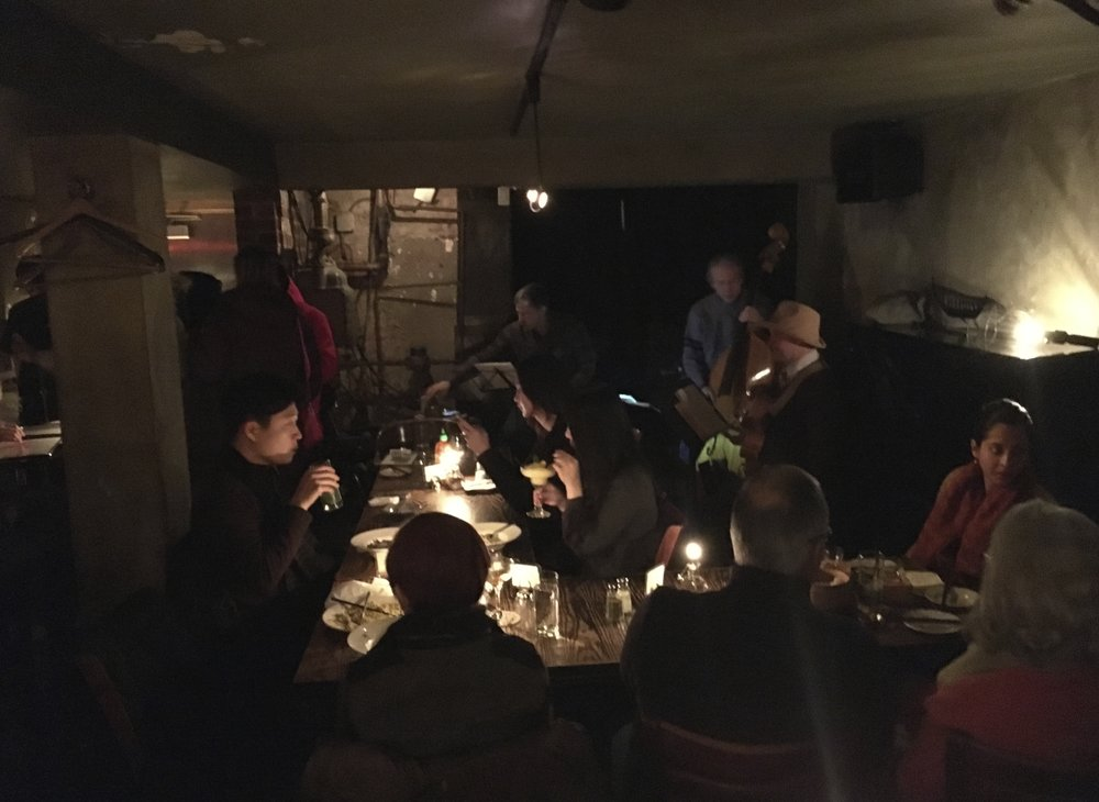 "Tomijazz - ""Low-key bar & grill featuring Japanese bites & live jazz in a cozy setting with a speakeasy vibe. 239 E 53rd St."" Packed."