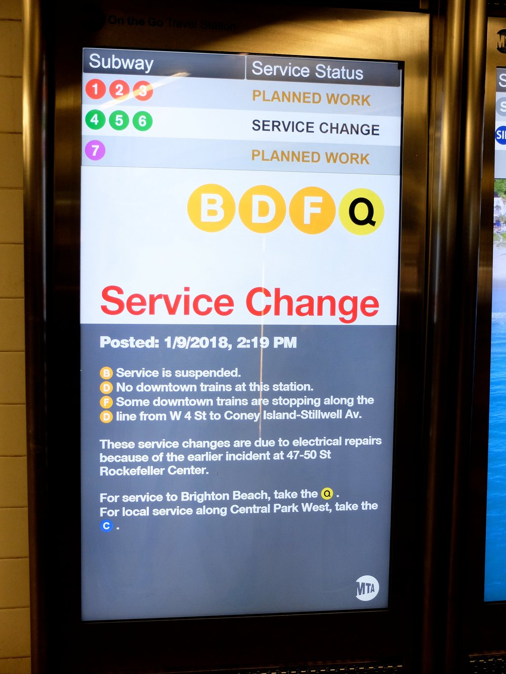 Computerized signs have hit the NY subways.