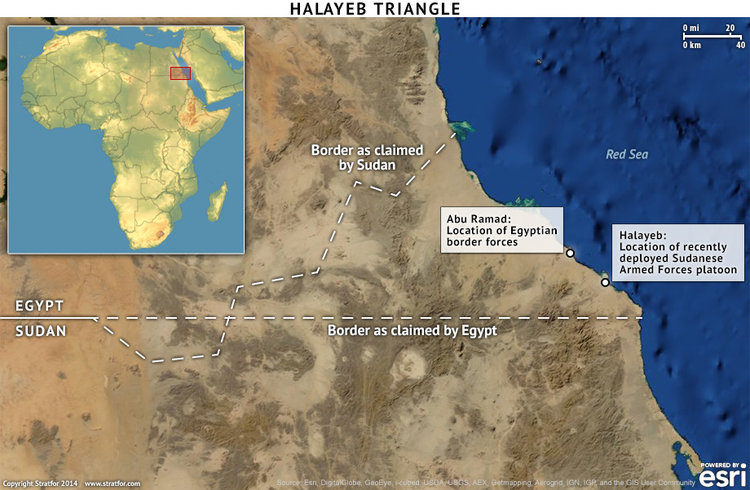 The Halayeb Triangle, with troop deployment information from 2014. Source: Stratfor
