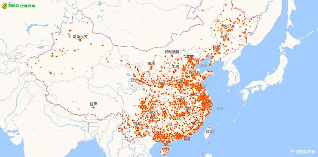 Map of distribution of WannaCry infections in China by 7pm local time May 13. Credit: Qihoo 360