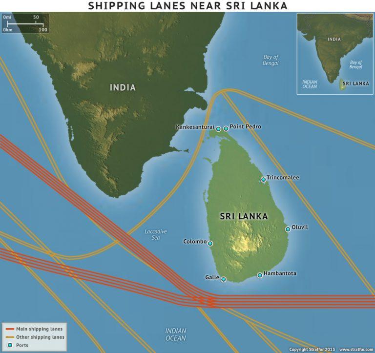 sri lanka shipping lane map
