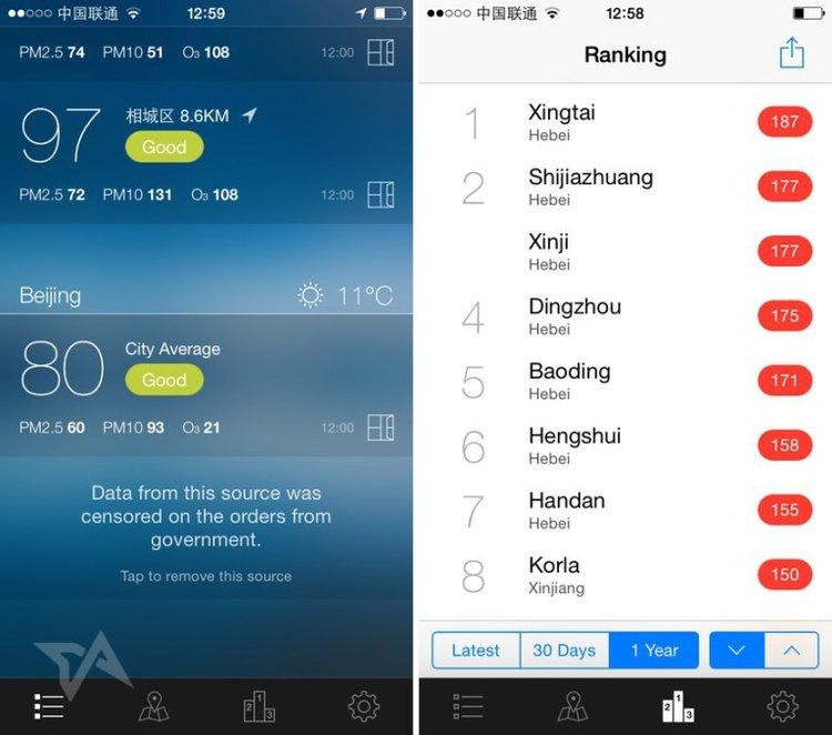 china air pollution app