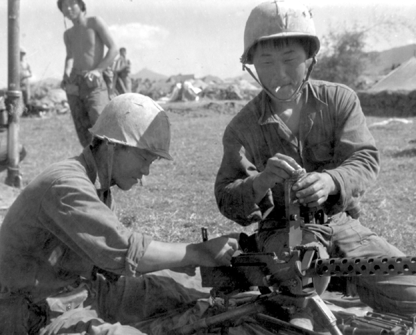 South Korean soliders prepare positions near Tuy Hoa, Vietnam, 1975.