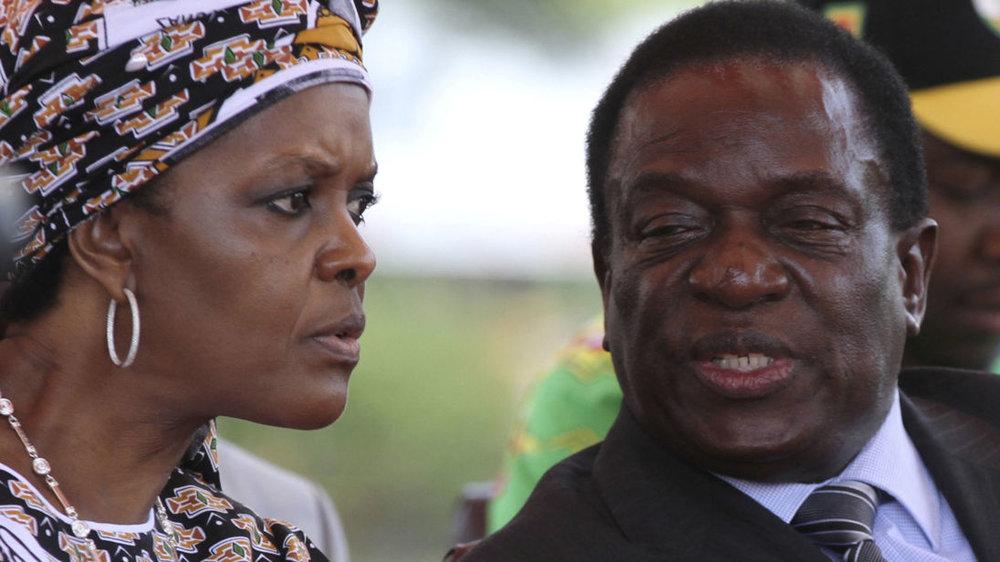 Grace Mugabe and the ousted Emmerson Mnangagwa - Source: Sky News